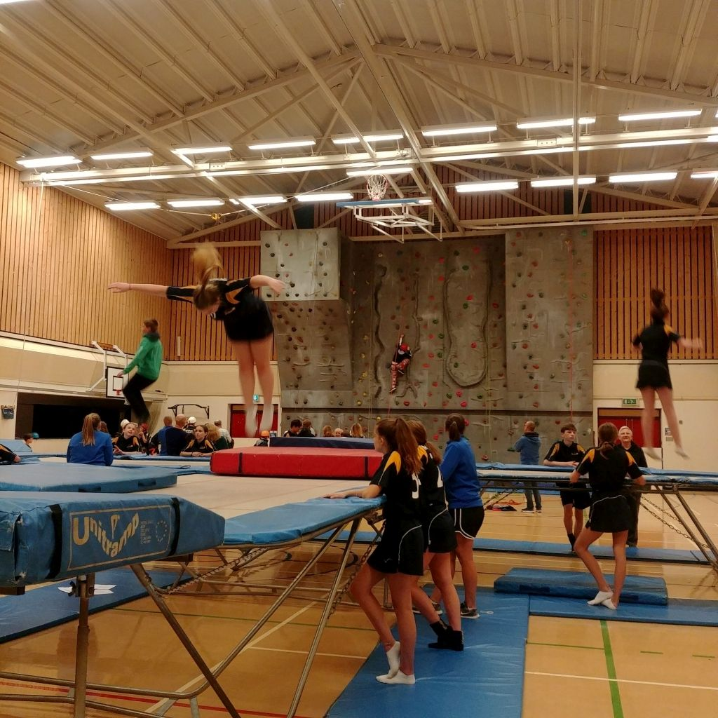 Trampolining and wall climbing