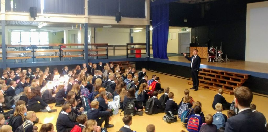 Mr Marston addresses the Year 7s